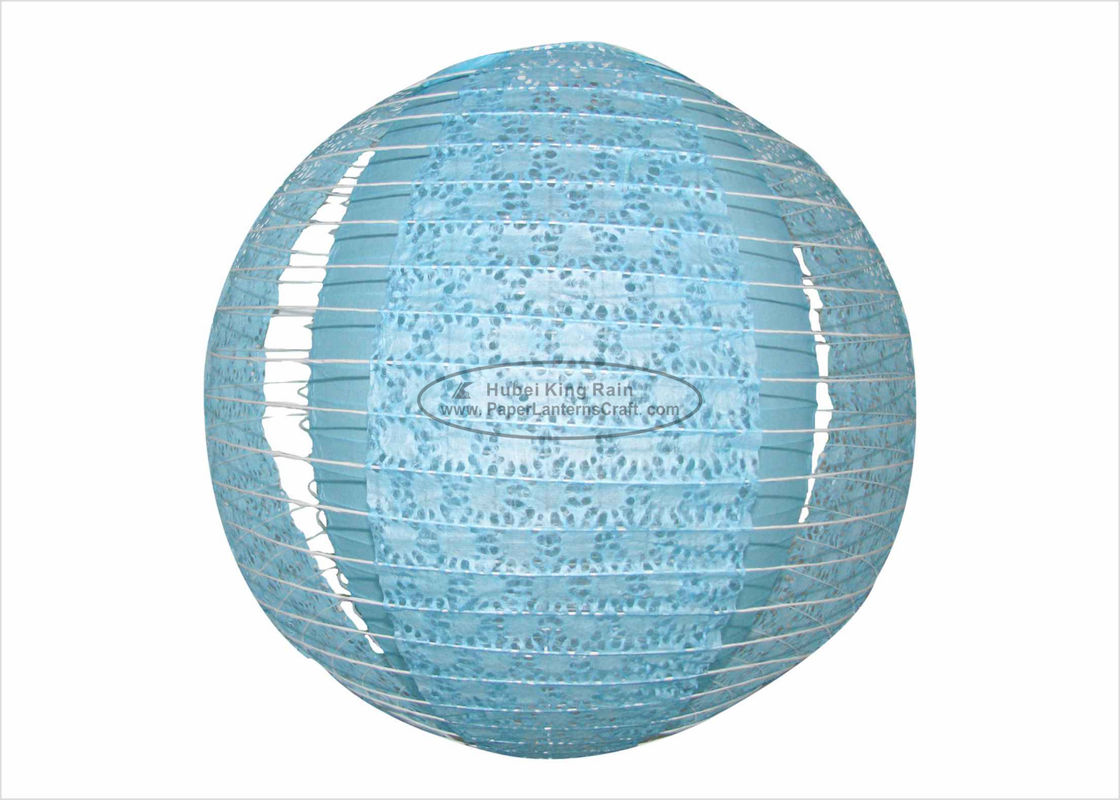 Blue Fuschia Multicolored Paper Lanterns , Round Indoor Hanging Party Paper Lanterns