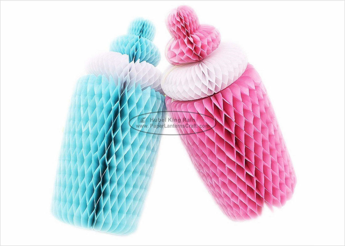 Girls Boys Gift Kids Paper Lanterns With 25cm Blue Pink Bottle Honeycomb Shaped