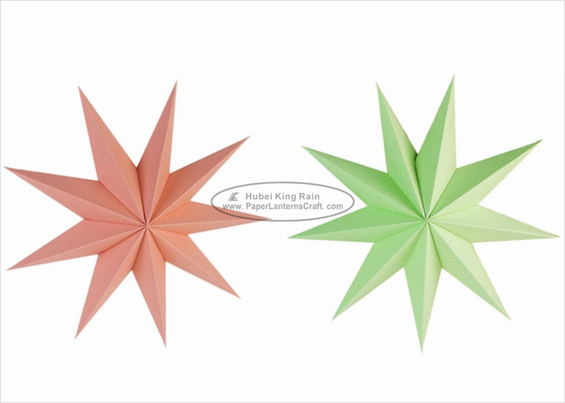 Colorful Unique Shaped Paper Lanterns , 60cm Hanging Paper Star Lanterns