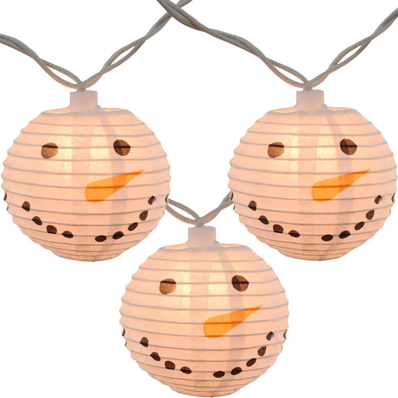 Led Paper Lanterns Hanging Indoor String Lights 8 Cm Square Snowman Shaped