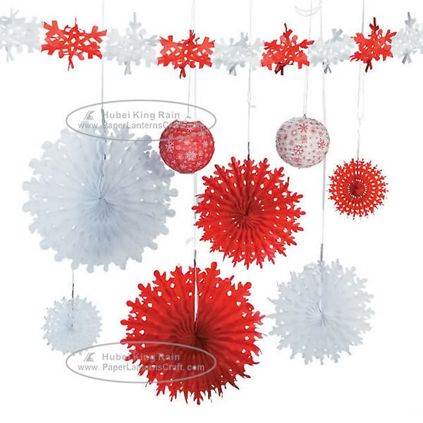 Christmas Snowflake Paper Fan Round Folding Fans Hanging Party Home Decorations