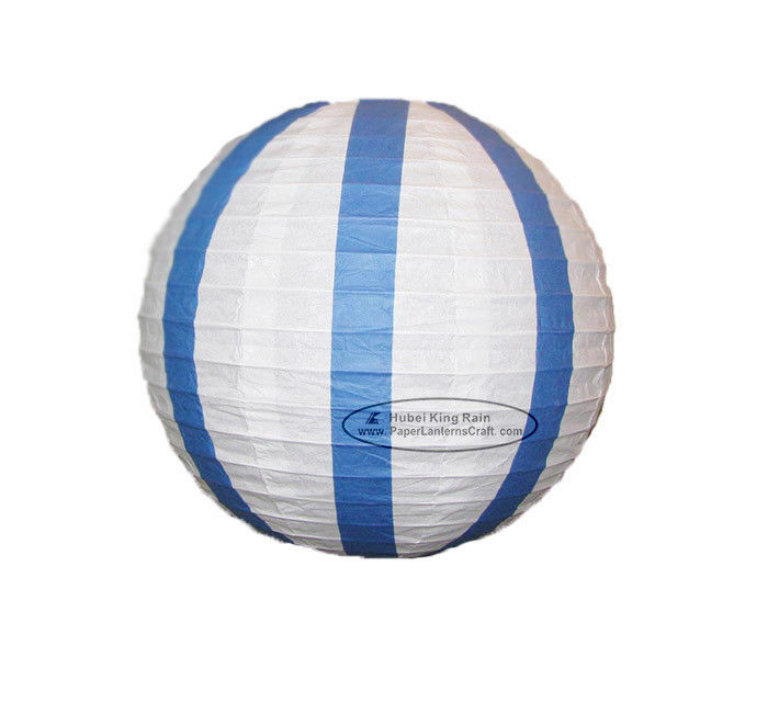 White Or Blue Or Red Or Green Stripe Round Paper Lanterns With Metal Wire Material